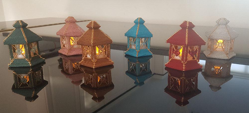 Tealight-holders made with Miyuki and Swarovski
